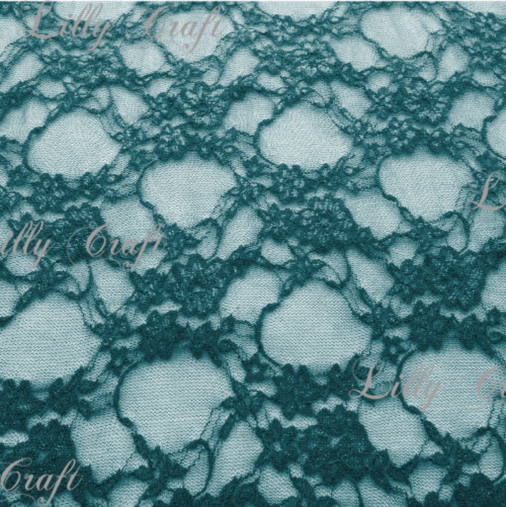 Teal Giselle STRETCH Lace 58 Inch Fabric Sold by the Yard