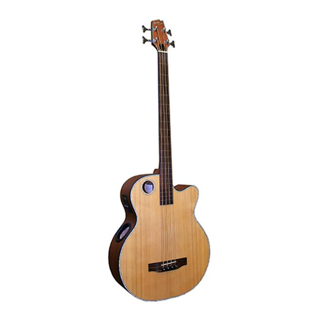 Boulder Creek Guitars EBR3-N4F Acoustic-Electric Solitaire 4-String Bass Guitar, Satin Mahogany by