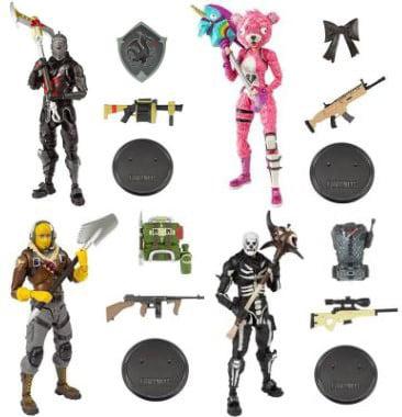 McFarlane Fortnite Series 1 Raptor, Cuddle Team Leader, Black Knight & Skull Trooper Set of 4 Action Figures