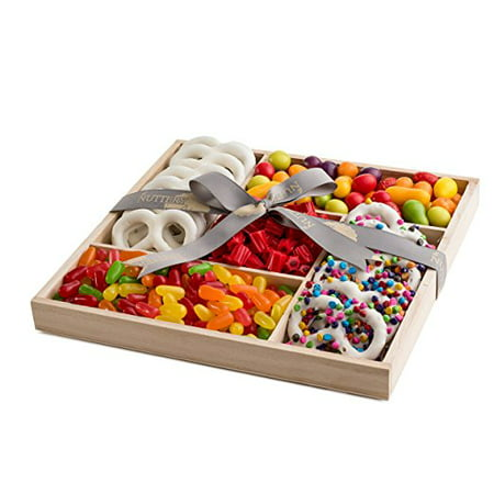 The Nuttery Deluxe Wooden 5 Section Candy and Chocolate Rainbow Colored Sweet Delights Gift Basket