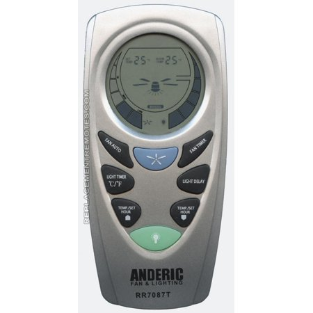 ANDERIC UC7087T with Fan Timer for Hampton Bay (p/n: RR7087T) Ceiling Fan Remote Control