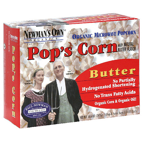 Newman's Own Organics Microwave Butter Popcorn, 9.9 oz (Pack of 12)