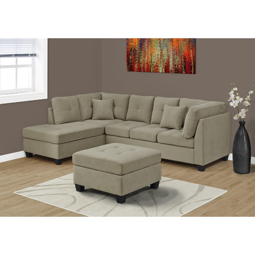 Monarch Sofa   Sectional / Ultra Soft Light Brown Velvet