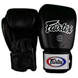 Fairtex Muay Thai - Boxing Gloves. BGV1 - Breathable. Color: Solid Black. Size: 12 14 16 oz. Training, Sparring Gloves for Boxing, Kick Boxing, MMA (Black, 12 oz)