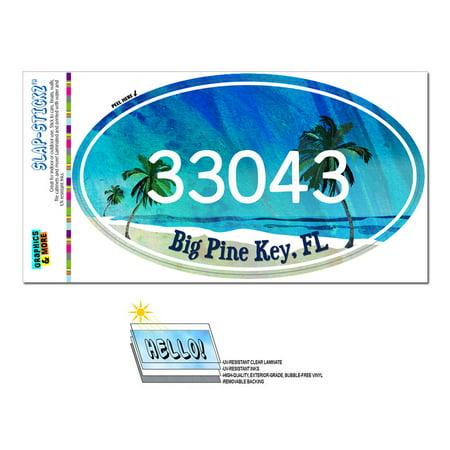 33043 Big Pine Key, FL - Tropical Beach - Oval Zip Code Sticker - Discount Key Codes