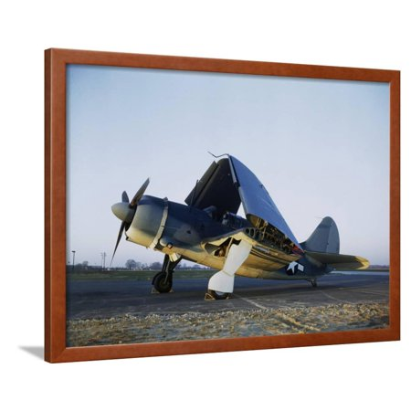 Navy Curtiss Wright Sb2c Helldiver With Wings Folded Up Framed Print Wall Art