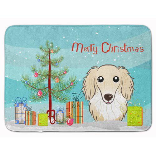 The Holiday Aisle Christmas and Longhair Creme Dachshund Memory Foam Bath Rug