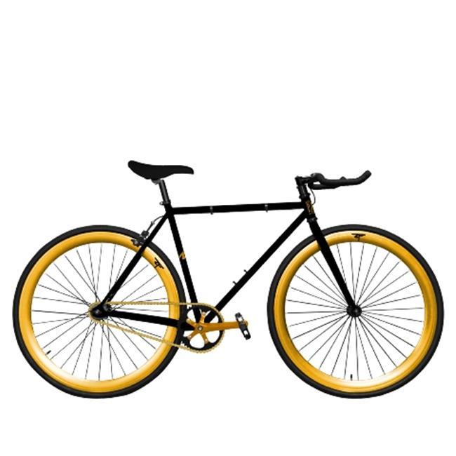 Zycle Fix ZF-BKGO-55 Black Gold Pursuit Fixie Bike, Black...