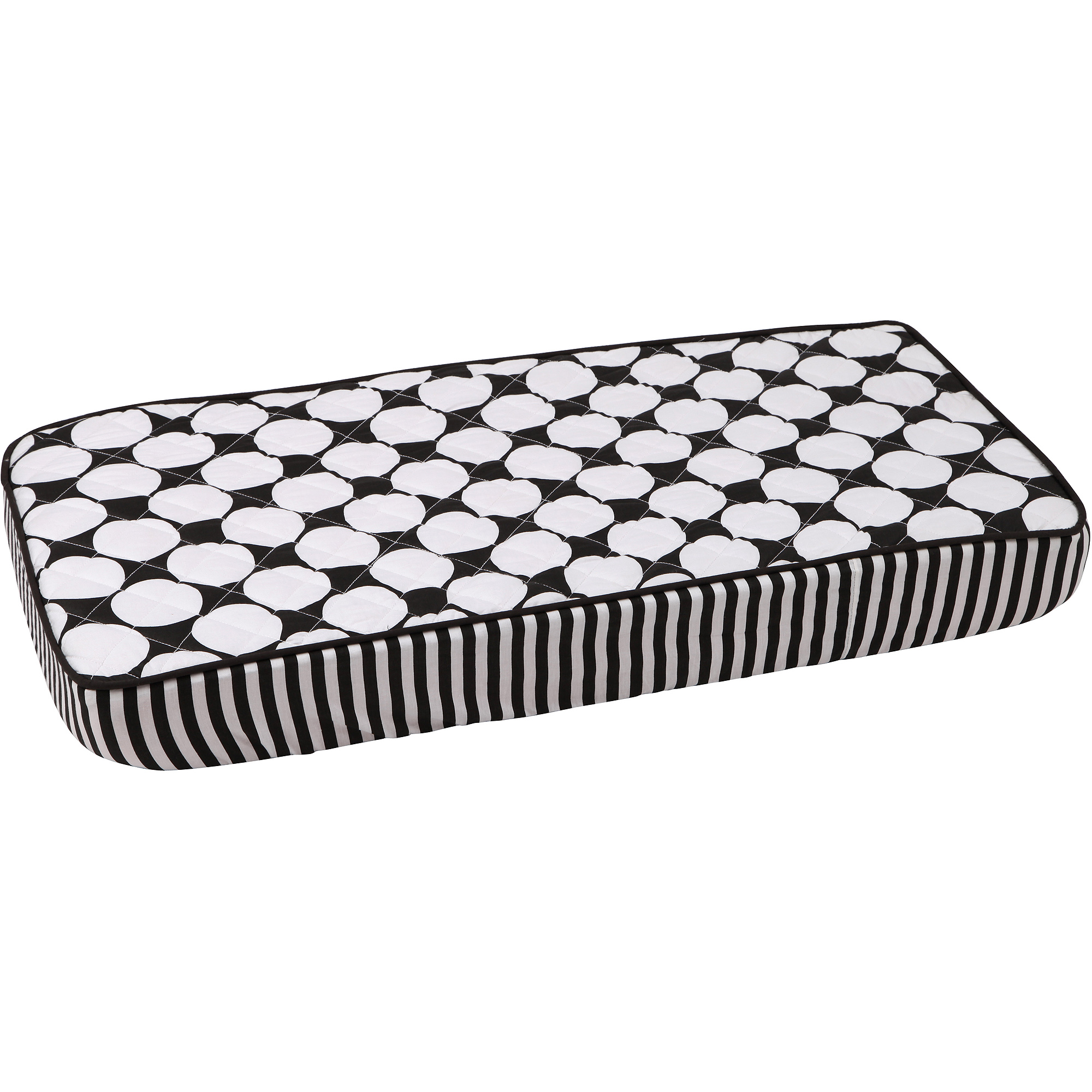 Bacati - Dots/Pin Large Dots Quilted Top 100% Cotton Percale with Polyester Batting Diaper Changing Pad Cover, White/Black