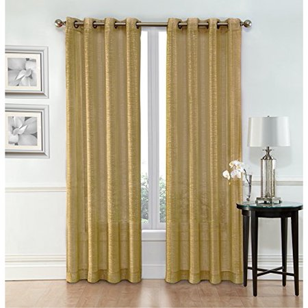 Ruthys Textile Gold Sheer Curtains 2 X 54 84 Panels Rod Pocket Top