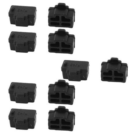Unique Bargains Black Ethernet Port RJ45 RJ-45 Anti Dust Cover Cap Protector Plug 10Pcs