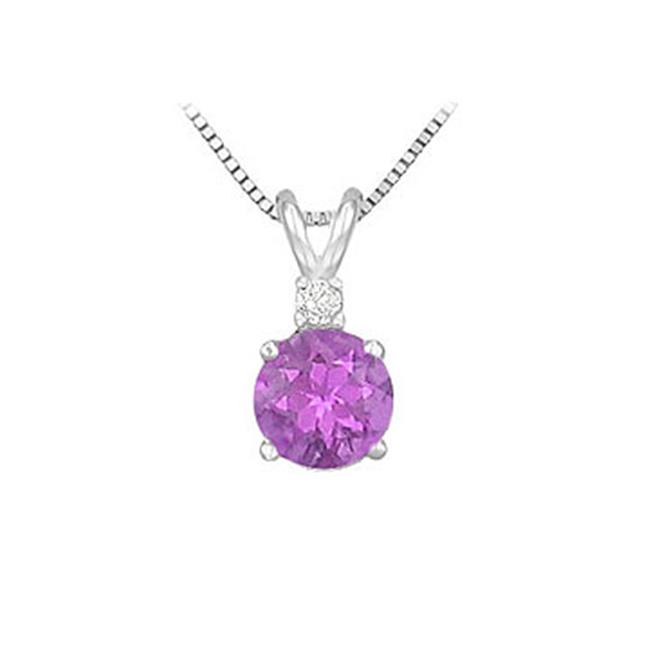 Fine Jewelry Vault SCPDVRD600AMW Diamond and Amethyst Solitaire Pendant - 14K White Gold - 1. 00 CT TGW