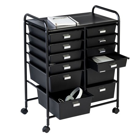Honey Can Do 12-Drawer Rolling Storage and Craft Cart Organizer, Black