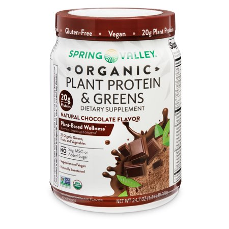 Spring Valley Organic Plant Protein & Greens Dietary Supplement, Natural Chocolate Flavor, 24.7