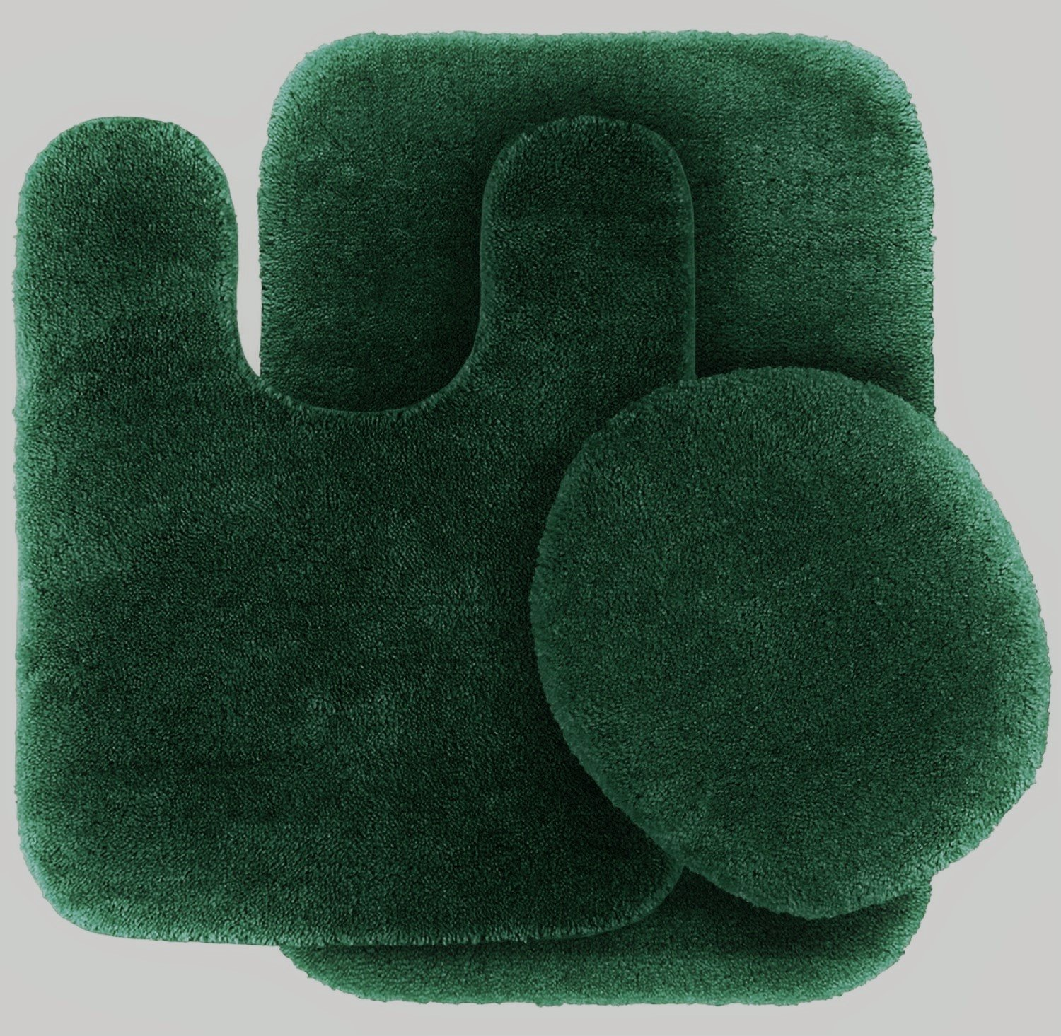 3 Pc HUNTER GREEN  Bathroom Set Bath Mat RUG, Contour, and Toilet Lid Cover, with Rubber Backing #6