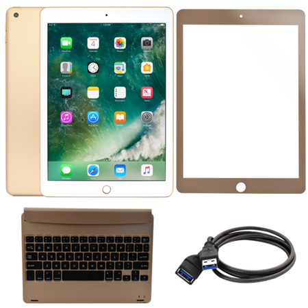 apple ipad 9 7 128gb wi fi gold with 6 foot usb extension cable and clip keyboard case with. Black Bedroom Furniture Sets. Home Design Ideas