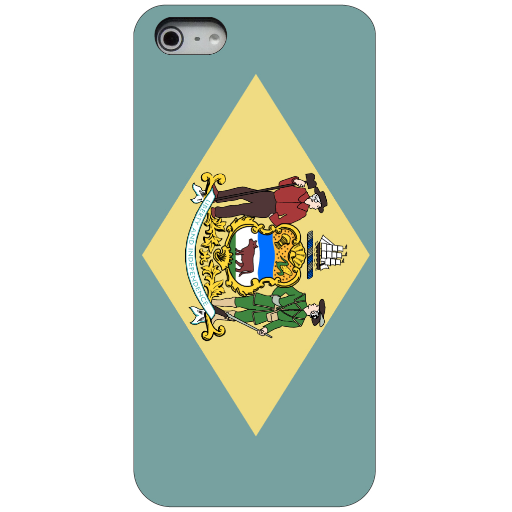 CUSTOM Black Hard Plastic Snap-On Case for Apple iPhone 5 / 5S / SE - Delaware State Flag