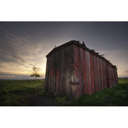 An Abandoned Railway Boxcar Converted To A Storage Shed At Sunset North Of Edmonton Alberta PosterPrint