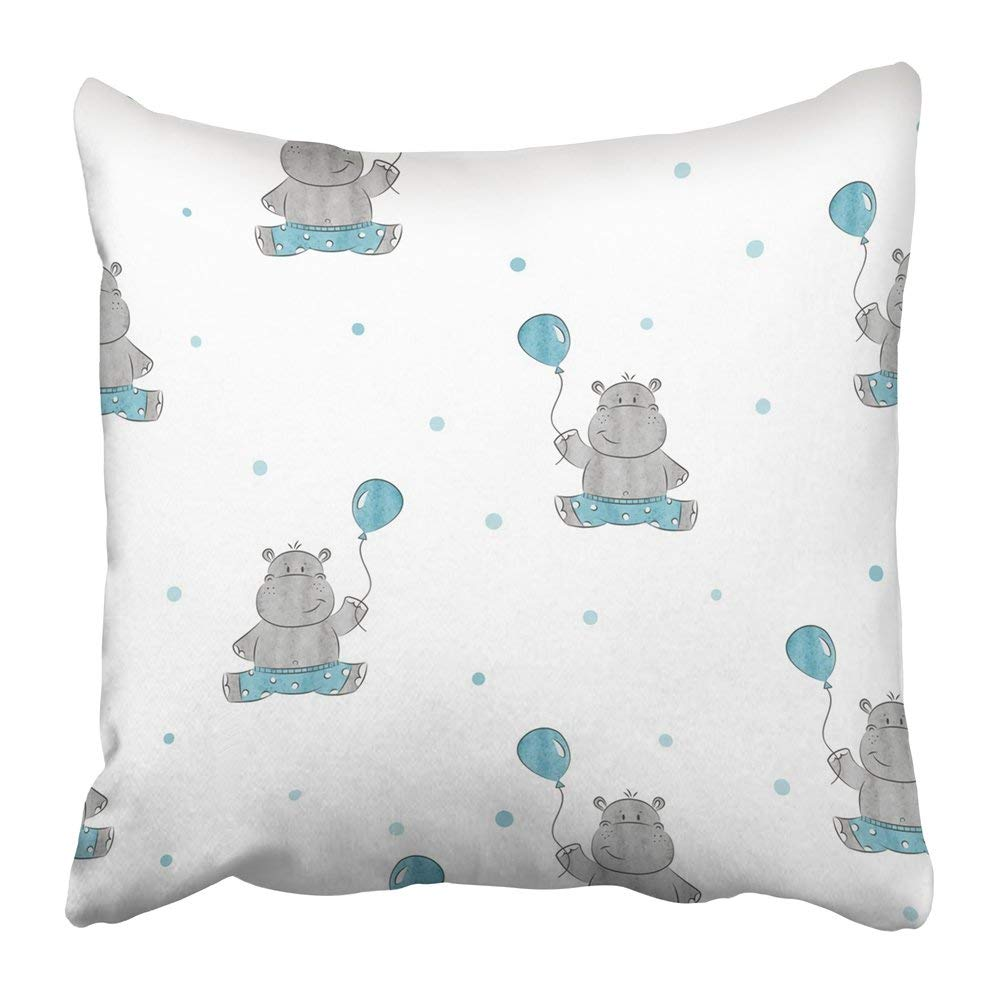 WOPOP Blue Kid with Cute Little Hippo Design Baby Gray Drawing Happy Watercolor Birthday Cartoon Africa Pillowcase Pillow Cushion Cover 20x20 inch