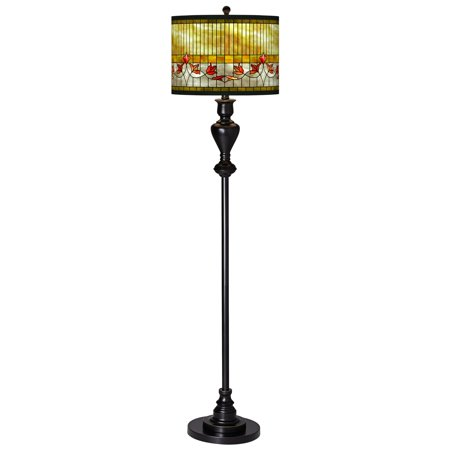 Giclee Glow Mission Floor Lamp Black Bronze Metal Tiffany-Style Lily Pattern Giclee Drum Shade for Living Room Reading Bedroom