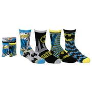 Batman Boys Socks [4 Pack - For Shoe Size 5-10  Sock Size 4-6]