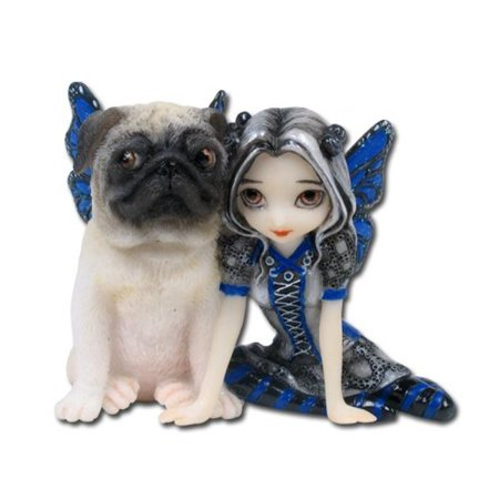 Porcelain Little Girl Figurine - 3.25 Inch Resin Little Pug Dog and Pixie Girl with Wings Statue