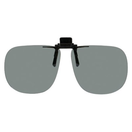 Polarized Clip-on Flip-up Plastic Sunglasses - Square - 64mm Wide X 56mm High (147mm Wide) - Polarized Grey Lenses (Polarized Square Sunglasses)