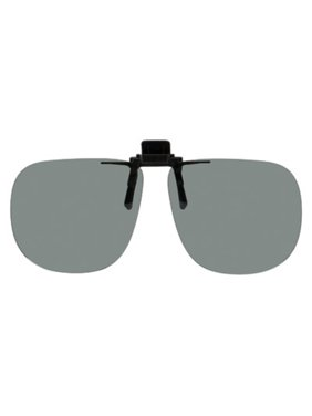 d752f8bc2db3a Product Image Polarized Clip-on Flip-up Plastic Sunglasses - Square - 64mm  Wide X 56mm