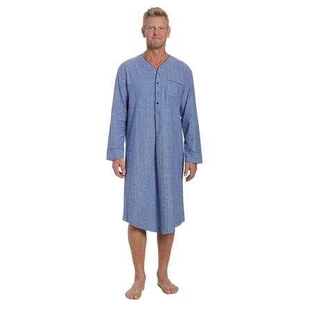 Noble Mount Mens 100% Cotton Flannel Nightshirt ()