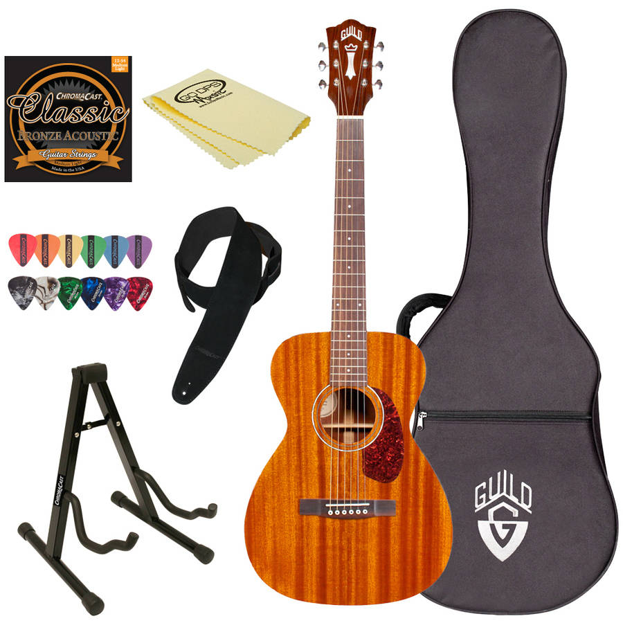 Guild M-120 NAT Natural Acoustic Concert Guitar with Guild Hard Case and ChromaCast Accessories