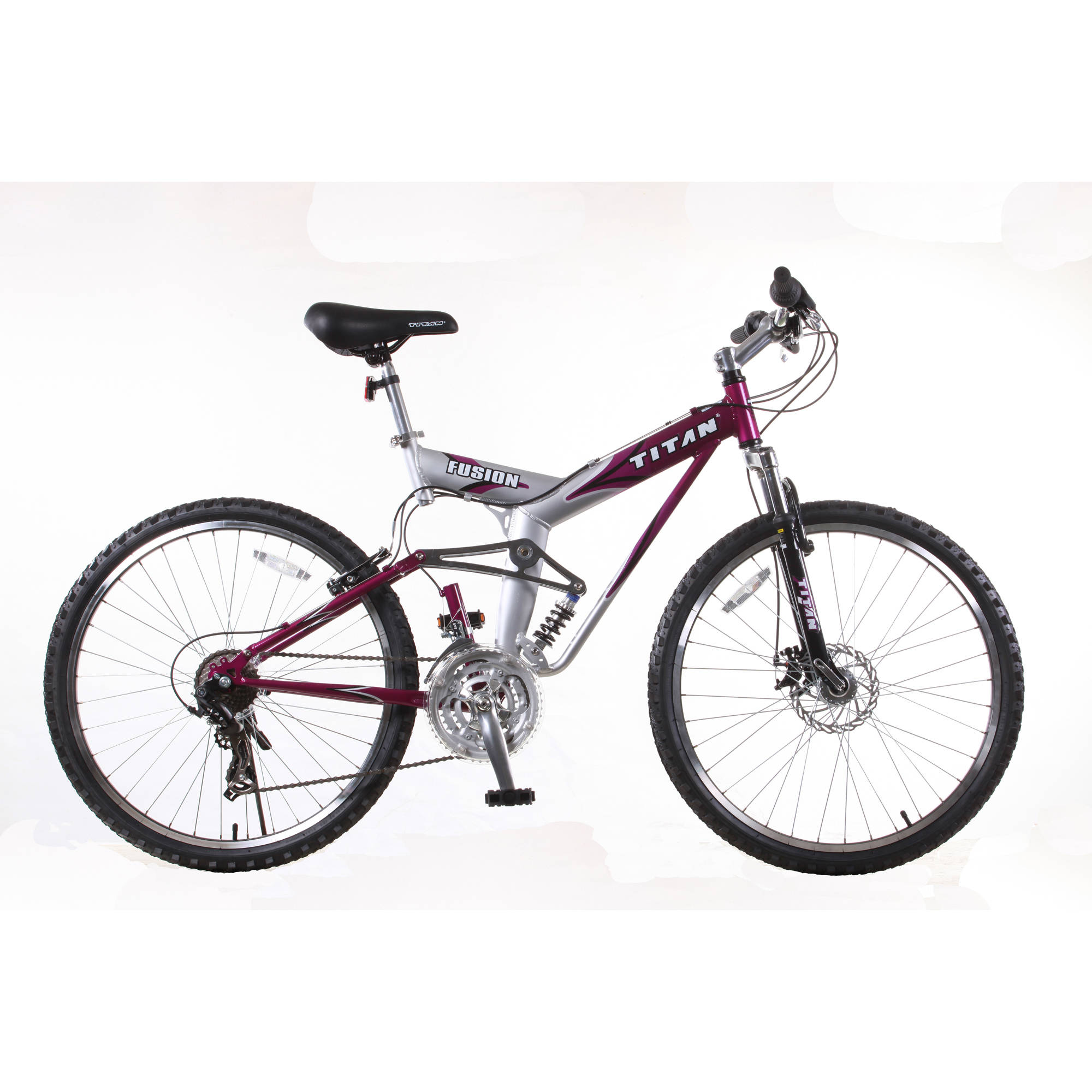 "26"" Titan Fusion PRO Womens' Alloy Dual Suspension All Terrain 21-Speed Mountain Bike, Purple"
