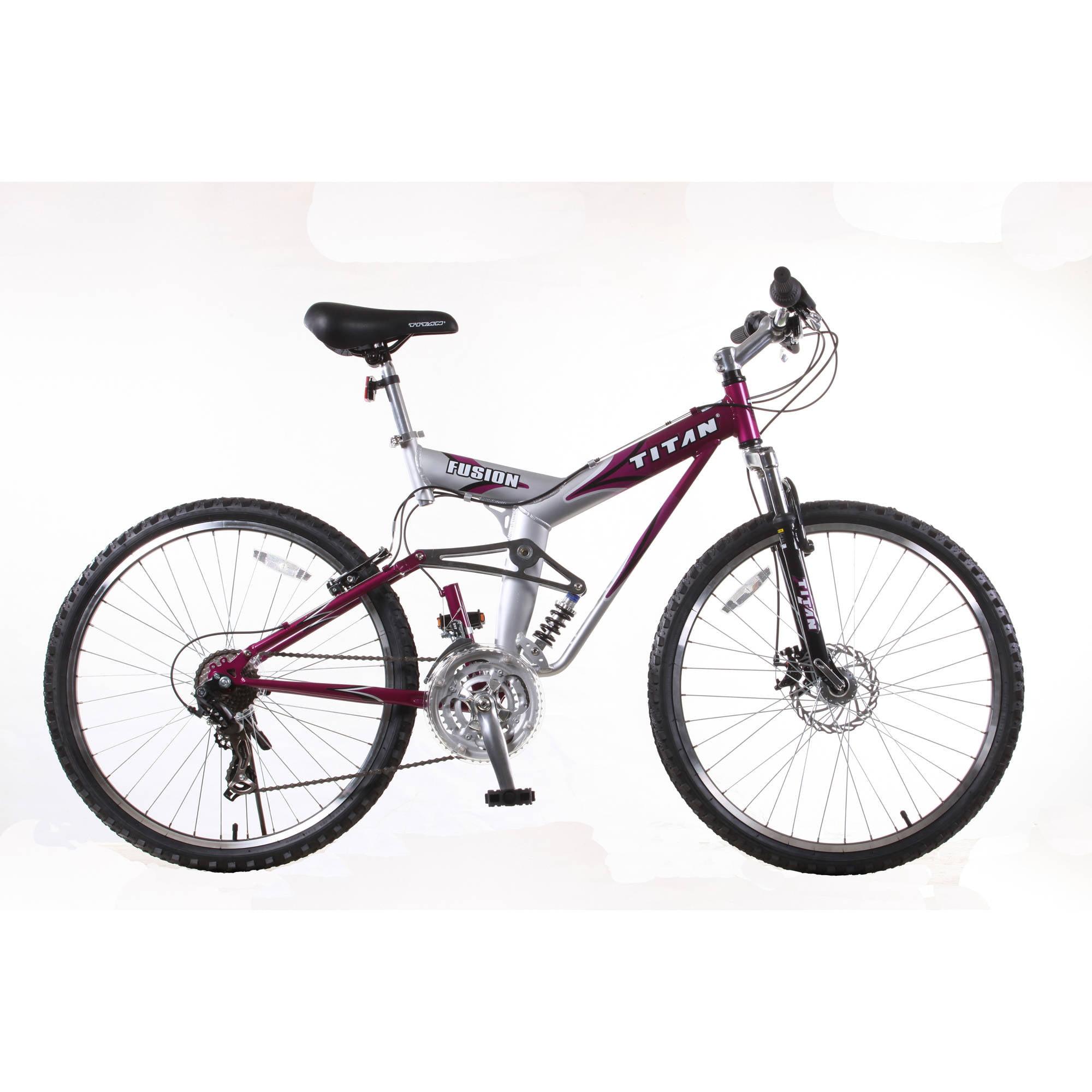 TITAN Fusion PRO Womens' Alloy Dual Suspension All Terrain 21-Speed Mountain Bike, Purple