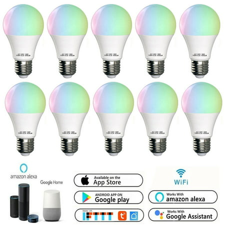 10 Pack WiFi 10W A21 Smart Multi-Color LED light Bulb ,Voice/App Controller,Compatible with Amazon Alexa Google Home