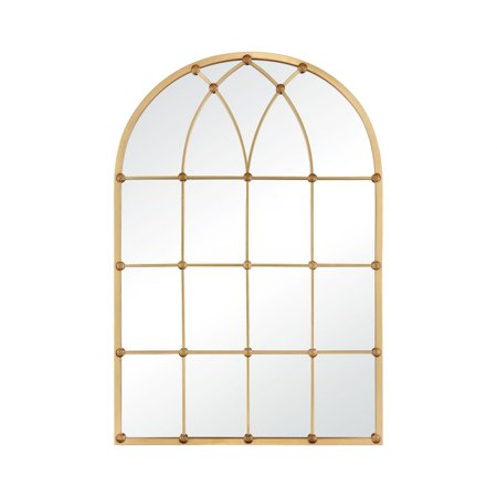 Traditional Grid Pattern Window Pane Style Arched Wall Mirror - 47 Inch Wall MIrror  Gold