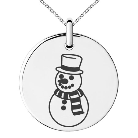 Stainless Steel Scarfed Snowman Engraved Small Medallion Circle Charm Pendant Necklace](Snowman Necklace)