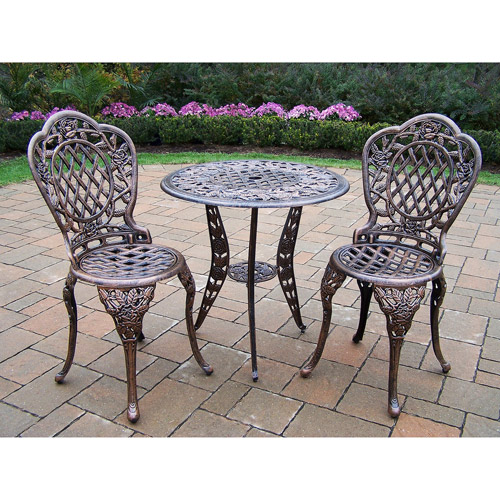 Tea Rose 3-Piece Bistro Set, Antique Bronze Finish