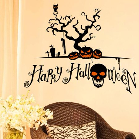 Mosunx Halloween Pumpkin Cartoon Wall Sticker Window Home Decoration Decal Decor - Halloween Wall Decorations