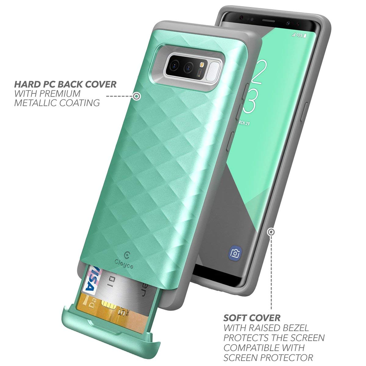 the best attitude 89178 5f7cf Galaxy Note 8 Case, Clayco [Argos Series] Premium Hybrid Protective Wallet  Case for Samsung Galaxy Note 8 (Built-in Credit Card/ID Card Slot) ...