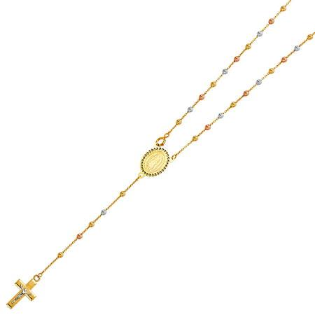 14k Beaded Crucifix - Ioka - 14K Tri Color Gold 2.5mm Beads Ball Guadalupe Crucifix Cross Pendant Charm Religious Catholic Rosary Beads Prayer Necklace - 20