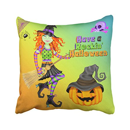 WinHome Halloween Rockin Witch Throw Pillow Covers Cushion Cover Case 18x18 Inches Pillowcases Two Side - A Rockin Halloween Mp3