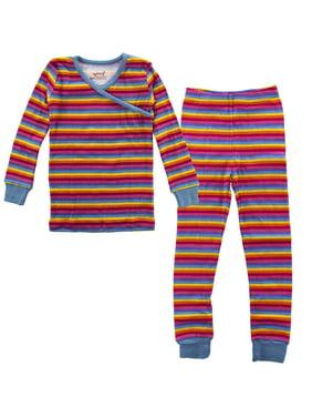 PLove Kids Two-Piece Organic Cotton Pajamas Little Girls Toddler PJs Pants Shirt