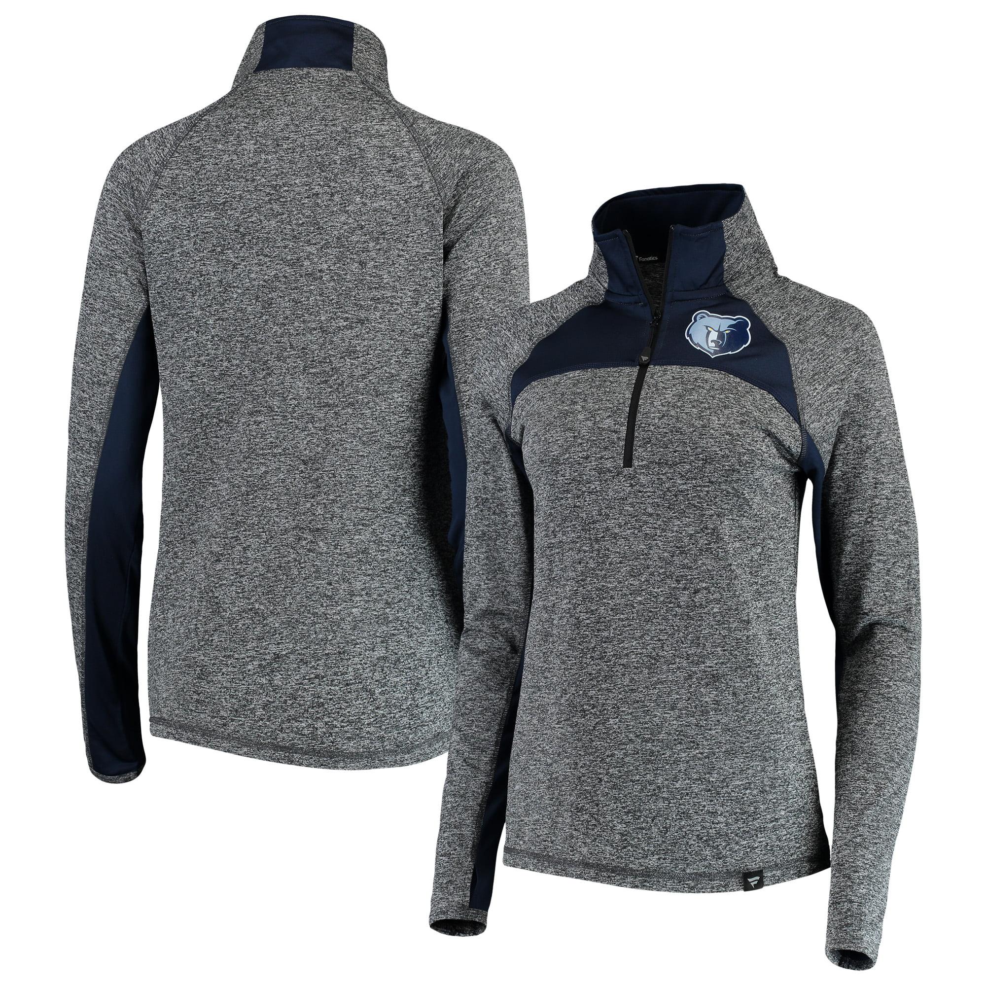 Memphis Grizzlies Fanatics Branded Women's Static Quarter-Zip Pullover Jacket - Heathered Gray