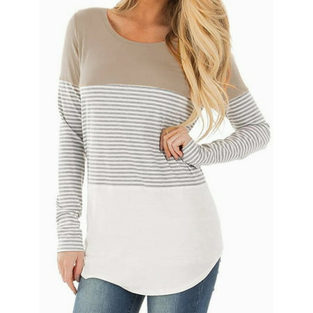 SAYFUT Women Long Sleeve Triple Color Striped Round Neck T-Shirt Casual Blouse Tee Plus Size