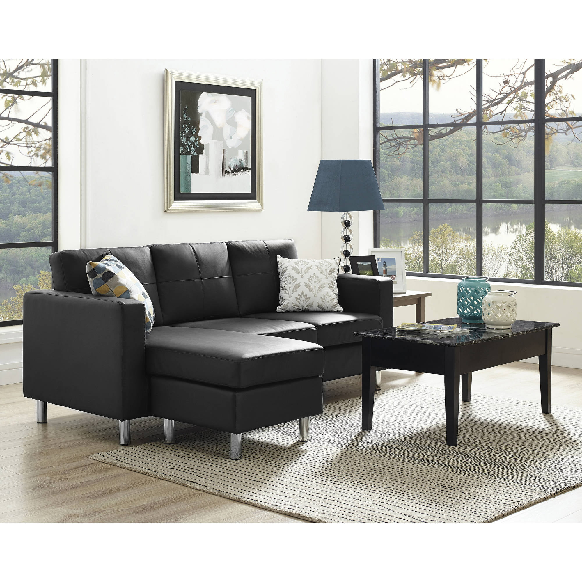 ufe sofia 2-piece dark brown microfiber modern living room right