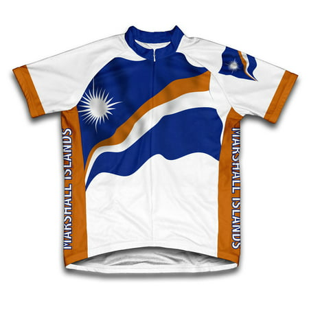 Marshall Islands Flag Short Sleeve Cycling Jersey  for Men - Size 3XL