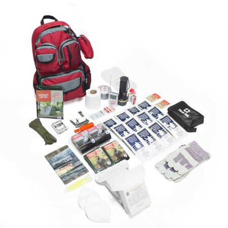 The Elemental All-in-1 Complete Family 72-Hour Survival Kit- 2 Person/Red Backpack