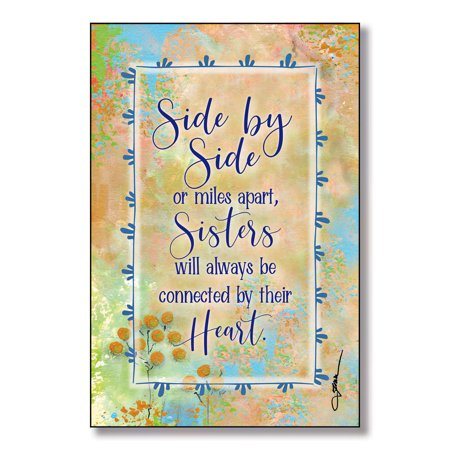 Side By Side..Sisters Wood Plaque with Easel and Hanger 6 inches x 9 - Sisters Plaque