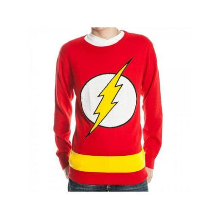 flash logo dc comics adult knit pullover - Logo Sweater