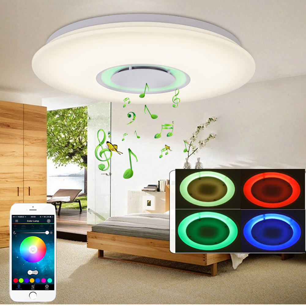 24/36/48W LED Music Ceiling Lights Flush Mount RGB Lamp w/ Bluetooth Speaker