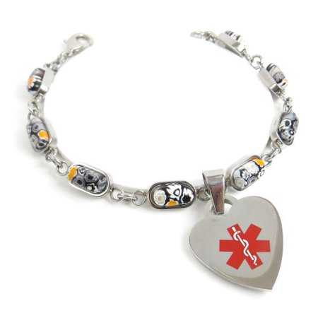 MyIDDr - Engraved Multiple Sclerosis MS Bracelet, Black & White Flowers](Ms Bracelets)